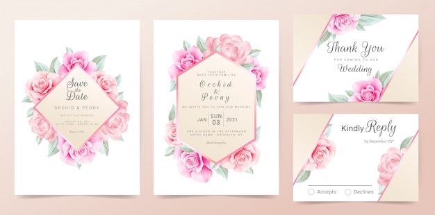 Plantilla De Tarjeta De Invitación De Boda De Oro Rosa Con