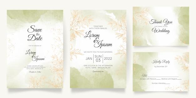 Plantilla de tarjeta de invitación de boda pastel acuarela con decoración floral dorada Vector Premium