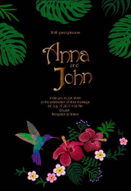 Plantilla de tarjeta de invitación de boda. reserva. diseño exótico tropical de las hojas de monstera Vector Premium