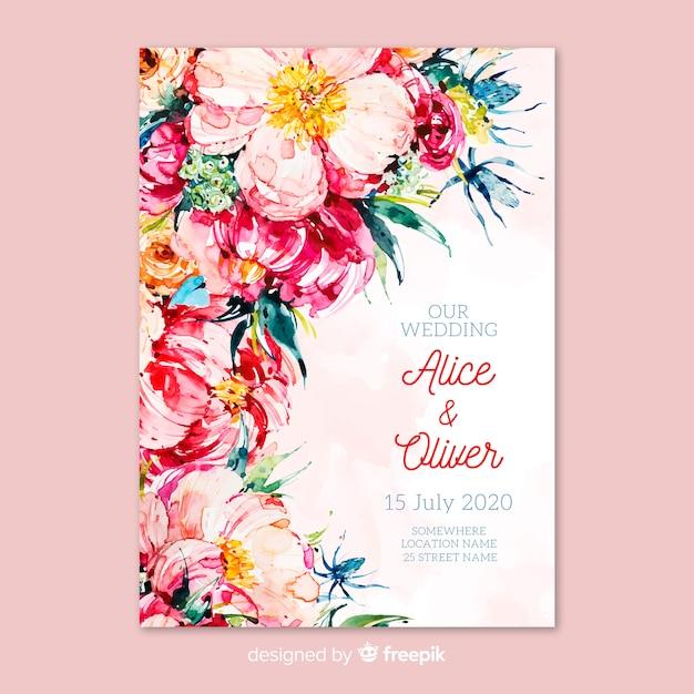 Plantilla De Tarjeta De Invitación De Boda Con Tema Floral