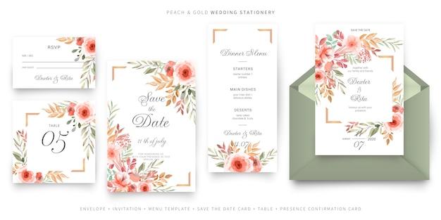 Plantilla de tarjeta de invitación de boda verde y rosa, conjunto de papelería vector gratuito
