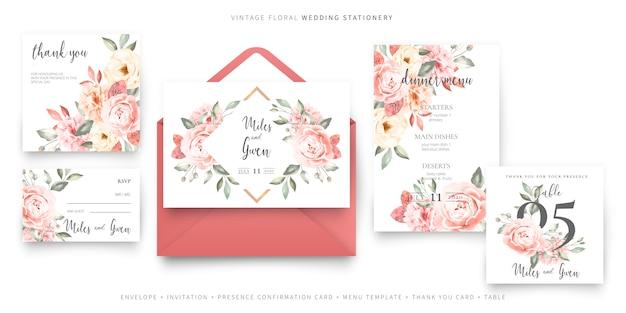 Plantilla de tarjeta de invitación de boda vintage con colección de sobres vector gratuito