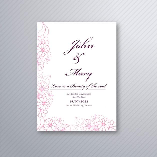 Plantilla de tarjeta de invitación de boda vector gratuito