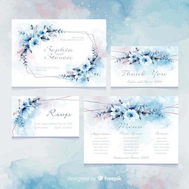 Plantilla de tarjeta de invitación de boda Vector Premium