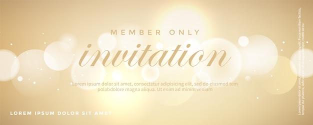 Plantilla de tarjeta de invitación dorada de lujo Vector Premium