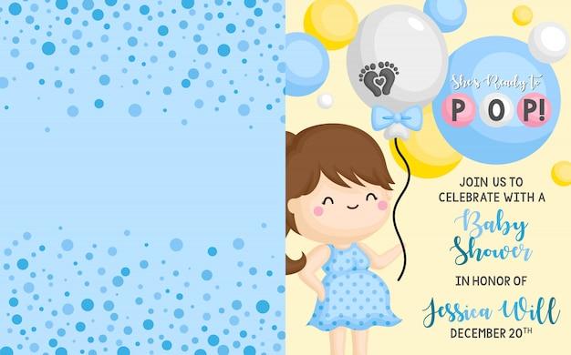 Plantilla de tarjeta de invitación de ducha de bebé Vector Premium