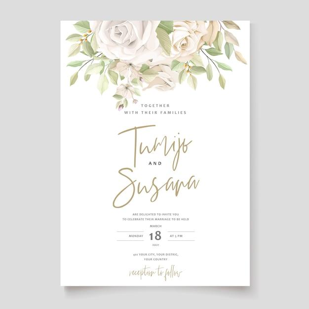 Plantilla de tarjeta de invitación de hermosas rosas vector gratuito