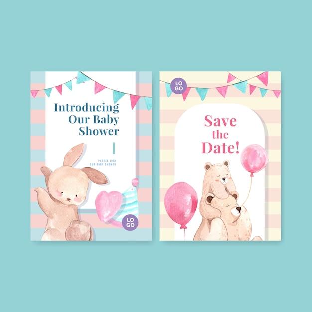Plantilla de tarjeta de invitación con ilustración de vector de acuarela de concepto de diseño de ducha de bebé. vector gratuito