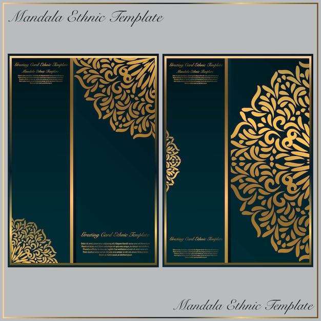 Plantilla de tarjeta de invitación con motivos de oro mandala. Vector Premium