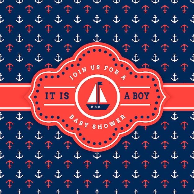 Plantilla de tarjeta de invitación náutica baby shower Vector Premium