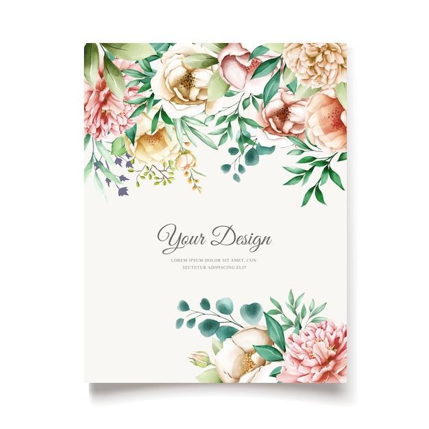 Plantilla de tarjeta de invitación de peonías elegantes vector gratuito