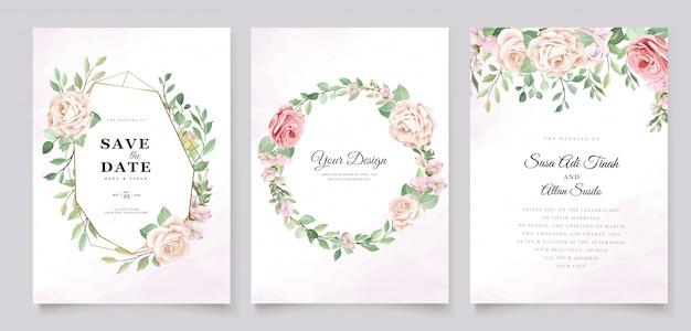 Plantilla de tarjeta de invitación de rosas hermosas vector gratuito