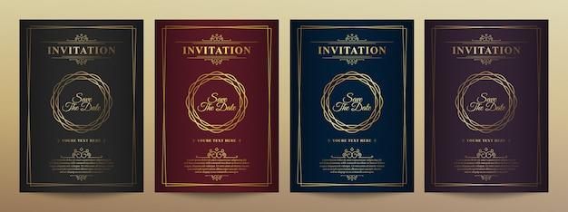 Plantilla de tarjeta de invitación de vector de oro vintage de lujo. Vector Premium
