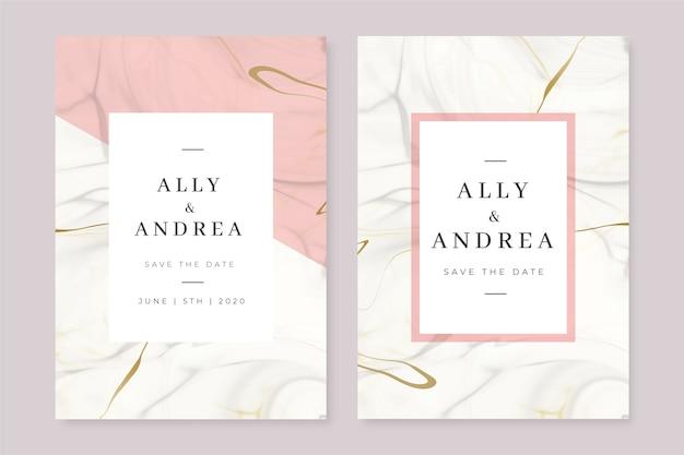 Plantilla de tarjeta de mármol de boda vector gratuito