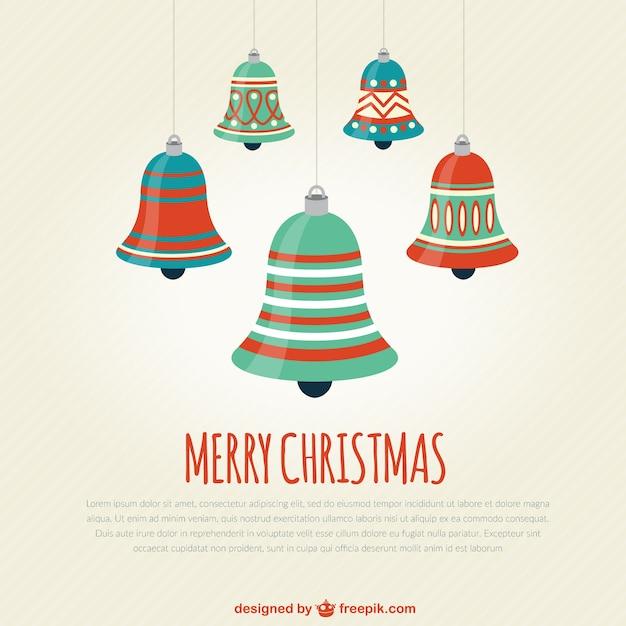 Plantilla de tarjeta de navidad con campanas | Descargar Vectores gratis