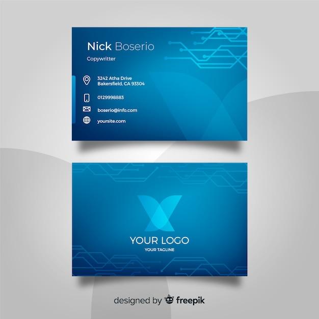 Plantilla de tarjeta de negocio tecnológica vector gratuito