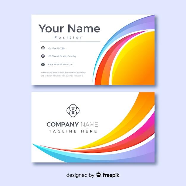 Plantilla de tarjeta de nombre de empresa comercial abstracta vector gratuito