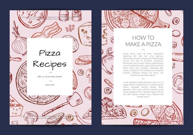 Plantilla de tarjeta o folleto para pizzería o clases de cocina. Vector Premium