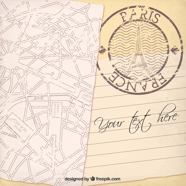Plantilla De La Tarjeta De París Vector Gratis
