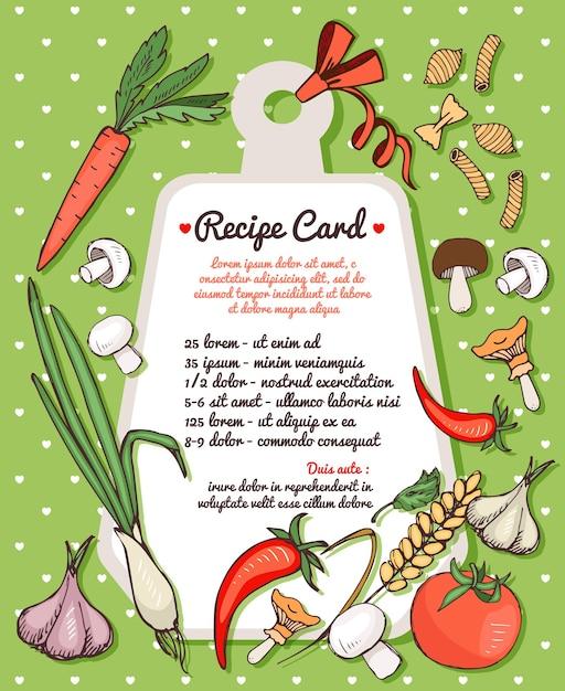 Plantilla de tarjeta de receta con espacio de texto rodeado de verduras frescas, setas y especias con una variedad de pasta italiana seca vector gratuito