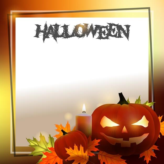Plantilla de tarjeta spooky fondo de halloween con calabazas ...