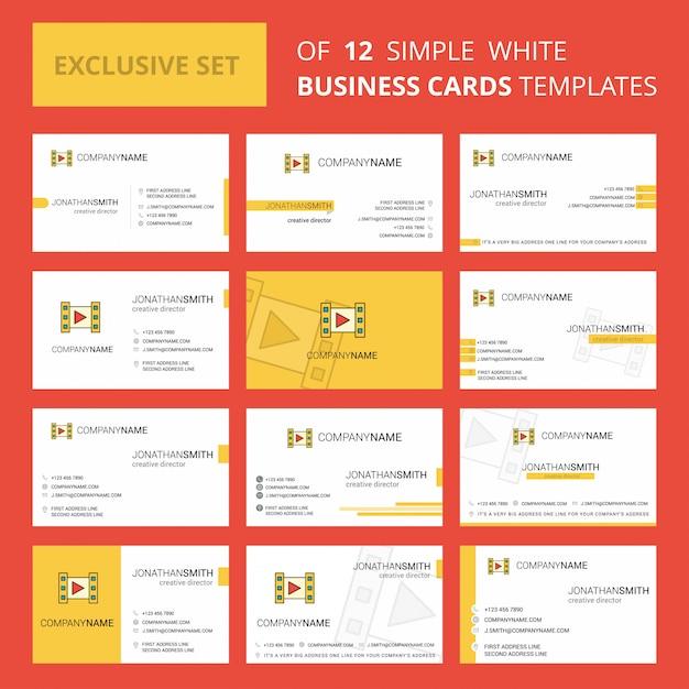 Plantilla de tarjeta de video busienss. logotipo creativo editable y tarjeta de visita vector gratuito