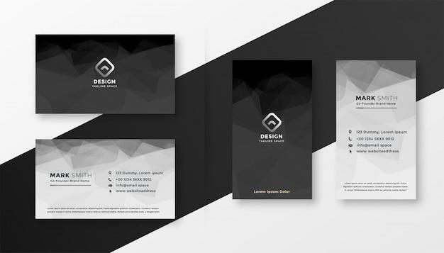 Plantilla de tarjeta de visita abstracta blanco y negro vector gratuito