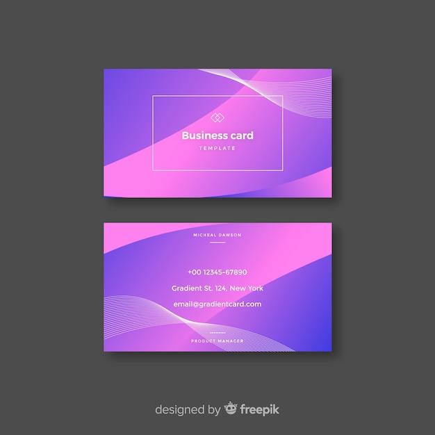 Plantilla de tarjeta de visita abstracta con degradado vector gratuito