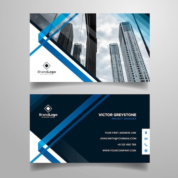 Plantilla de tarjeta de visita abstracta con foto de la ciudad vector gratuito