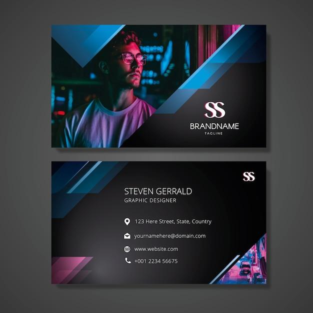Plantilla de tarjeta de visita abstracta con foto vector gratuito