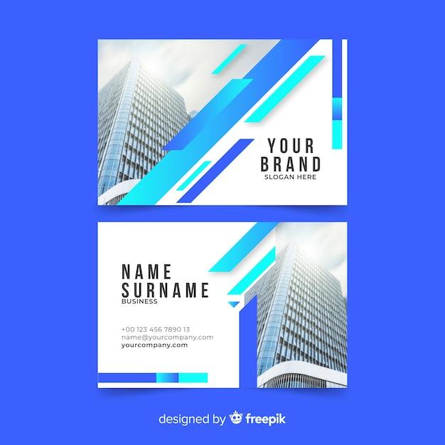 Plantilla de tarjeta de visita abstracta con imagen vector gratuito