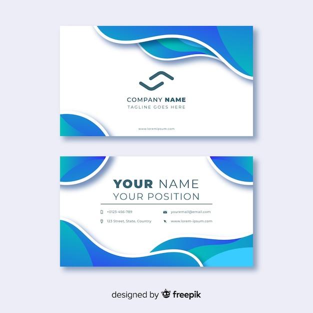 Plantilla de tarjeta de visita abstracta con líneas de colores fríos vector gratuito
