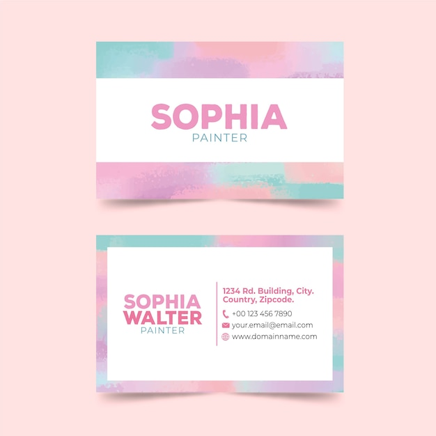 Plantilla de tarjeta de visita abstracta con manchas de color pastel vector gratuito