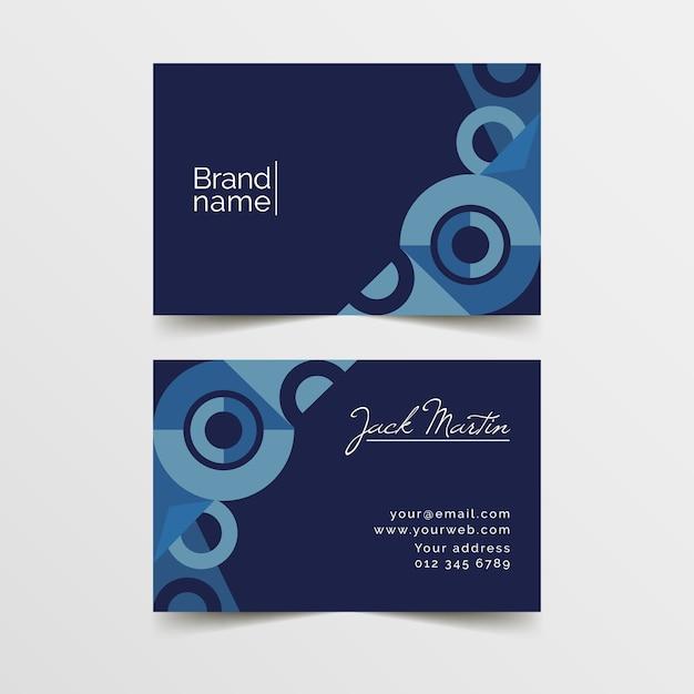 Plantilla de tarjeta de visita abstracta con tema azul vector gratuito