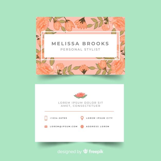 Plantilla de tarjeta de visita adorable con estilo floral vector gratuito