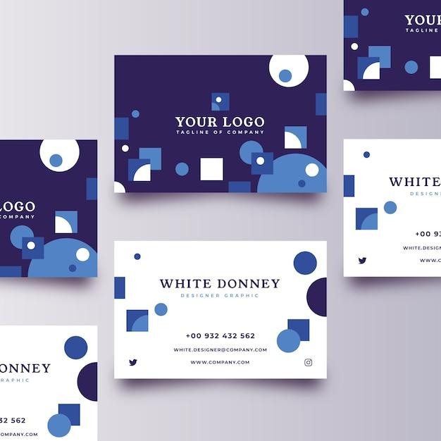Plantilla de tarjeta de visita azul clásica abstracta vector gratuito
