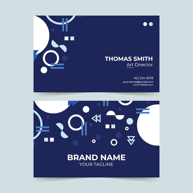 Plantilla de tarjeta de visita - azul oscuro con formas blancas vector gratuito