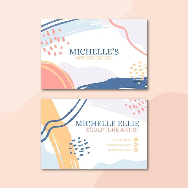 Plantilla de tarjeta de visita de color pastel en estilo memphis vector gratuito