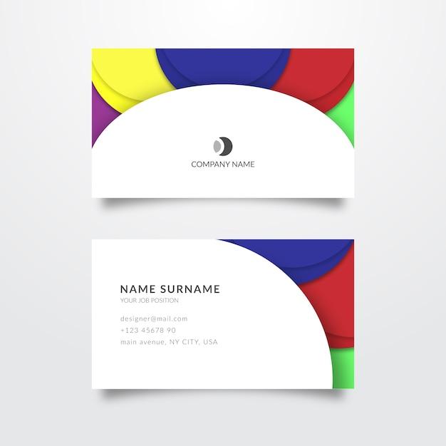 Plantilla de tarjeta de visita colorida abstracta vector gratuito