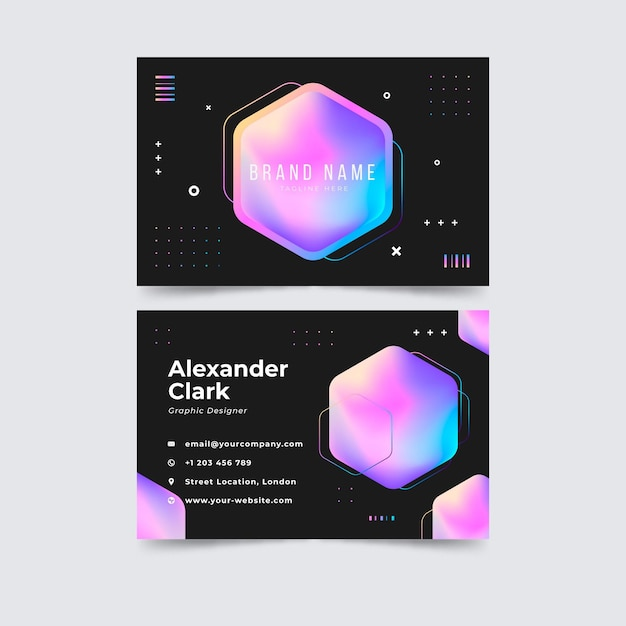 Plantilla de tarjeta de visita colorida degradado rosa vector gratuito