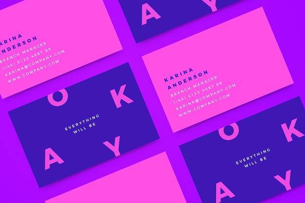 Plantilla de tarjeta de visita colorida mínima vector gratuito