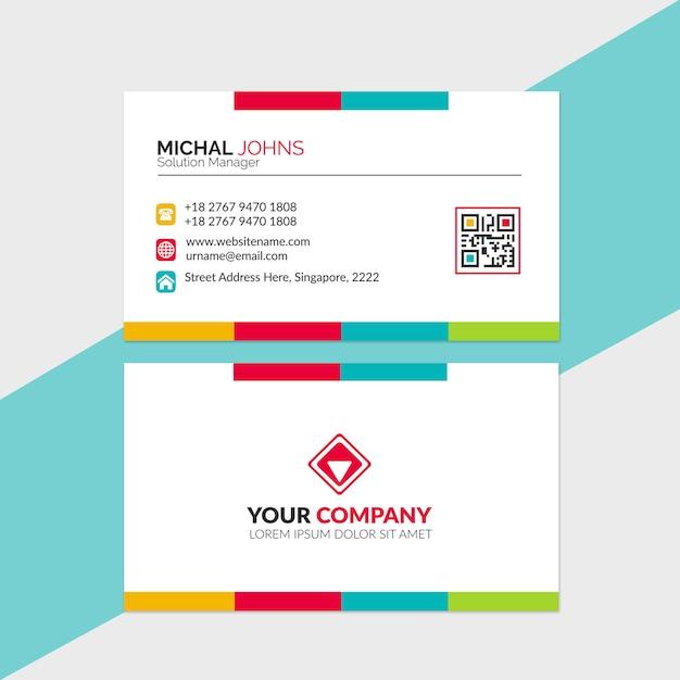Plantilla de tarjeta de visita colorida Vector Premium