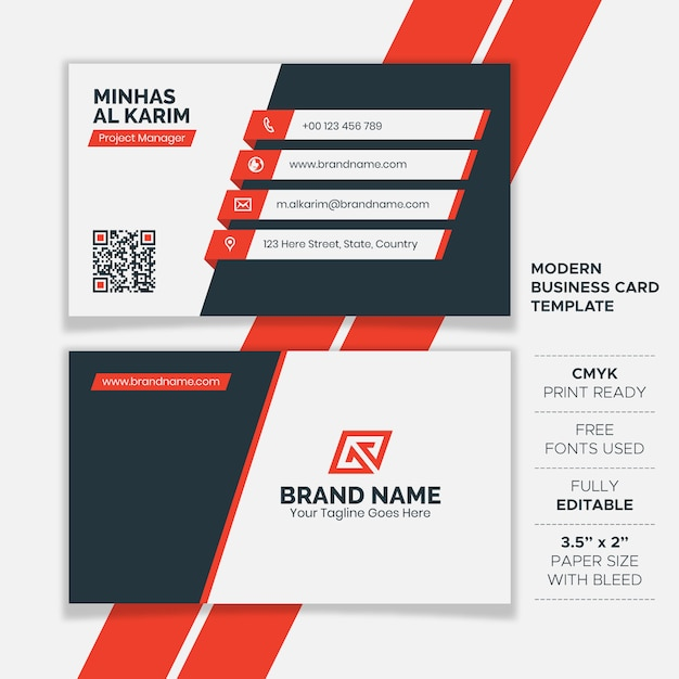 Plantilla de tarjeta de visita creativa plana Vector Premium
