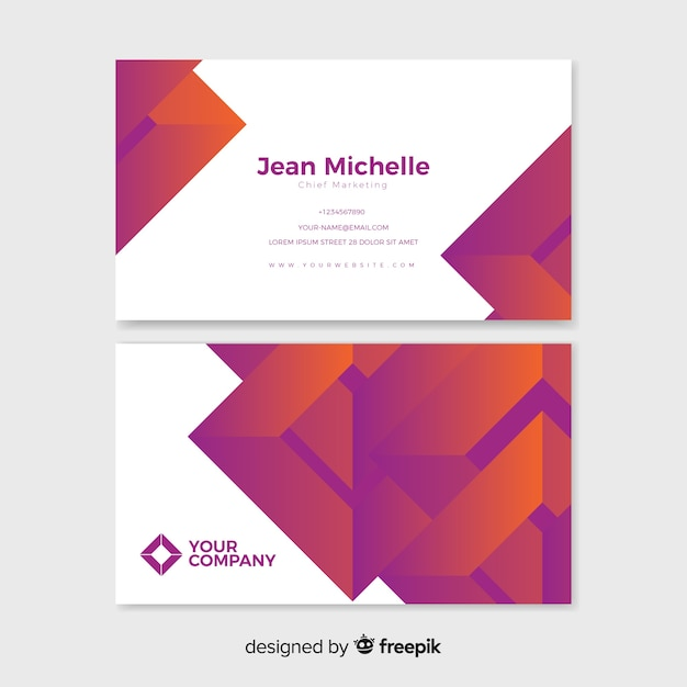 Plantilla de tarjeta de visita degradado abstracto vector gratuito