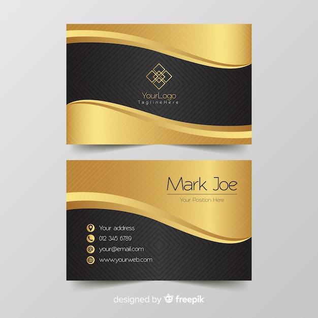 Plantilla de tarjeta de visita detalles dorados vector gratuito
