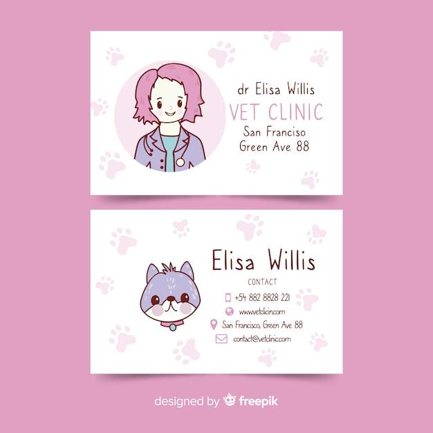 Plantilla de tarjeta de visita dibujada en estilo kawaii vector gratuito