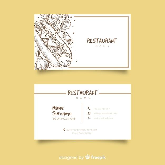 Plantilla de tarjeta de visita dibujada de restaurante vector gratuito