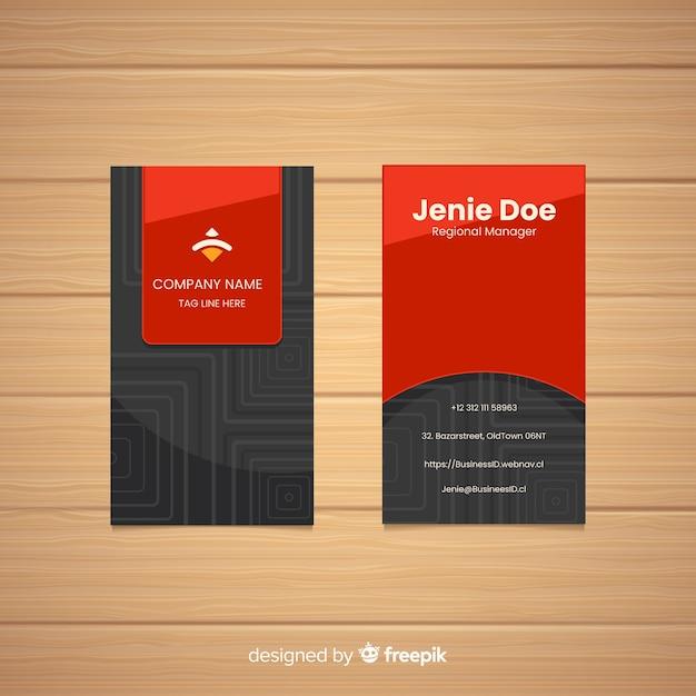 Plantilla de tarjeta de visita en diseño plano vector gratuito