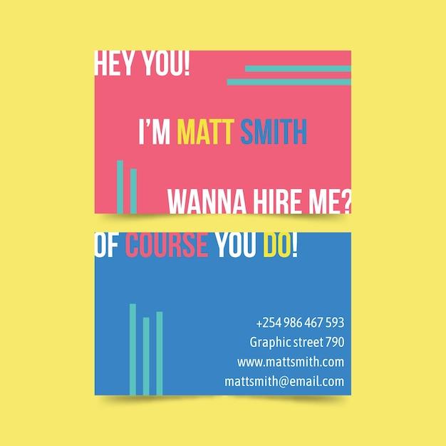 Plantilla de tarjeta de visita divertida del diseñador gráfico vector gratuito