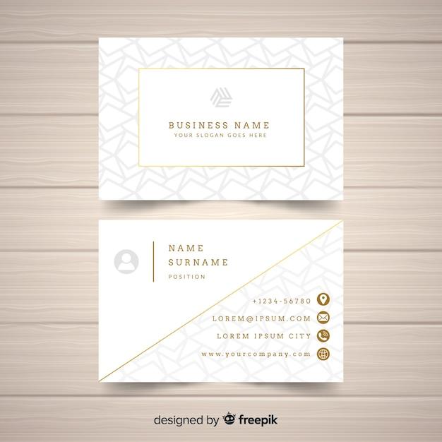 Plantilla de tarjeta de visita dorada y elegante vector gratuito